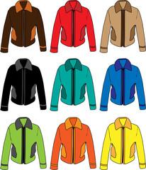 Set of four men's warm training jackets.