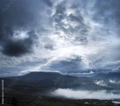 Storm in the mountain, mountain in Crimea