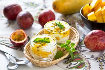 Passion fruit and Mango dessert
