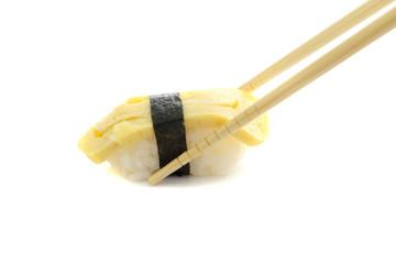 egg sushi isolated in white background