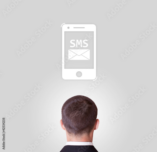 man communicating with sms message illustration