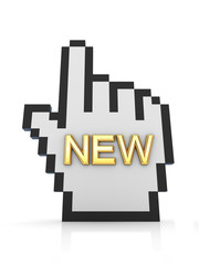 Golden word NEW and large cursor.