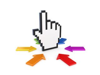 Colorful arrows around cursor.
