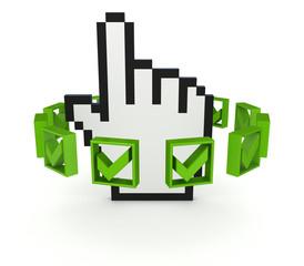 Green tick marks around large cursor.