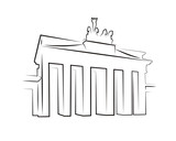 Fototapety Brandenburg gate silhouette isolated on white