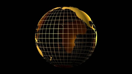 Gold globe with chroma key loop