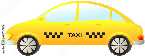 isolated modern taxi car on white background