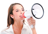 femme avec mégaphone