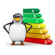 3d Penguin in glasses with economy chart