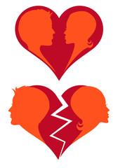 love and broken heart, vector