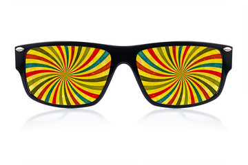 Sunglasses with a psychedelic vision of swirling rays