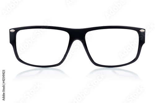 Black framed glasses  on a white background