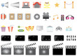 Icons set Cinema and movies isolated on white.