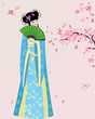 cherry blossom and a girl in national costume