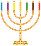Ornate golden menorah with candles on a white background