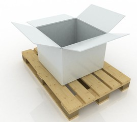 3d render white box opened