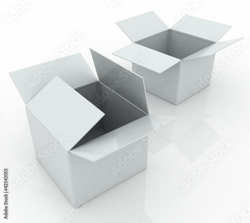 3d render two white box opened