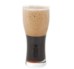 a glass of dark beer isolated