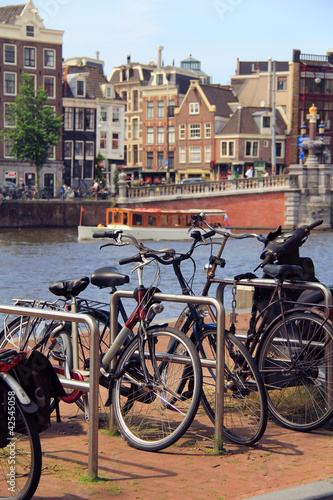 Amsterdam canals , bicycle and typical houses , Netherlands