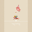 Flying Bird 10 Cupcakes Retro Colors Beige Dots