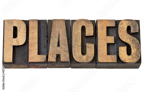 places word in letterpress type