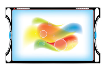 tablet computer with abstract image - vector