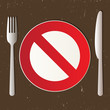 Cutlery and prohibited sign