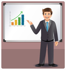 Businessman presenting profits on a whiteboard