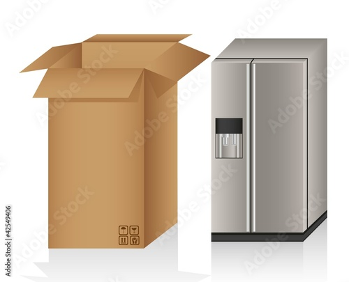 Illustration of a refrigerator ans a box,