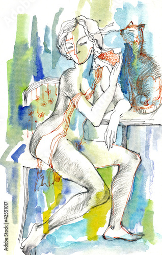Obraz at home (woman with cat)