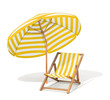Sunbed and sun umbrella - 42551622