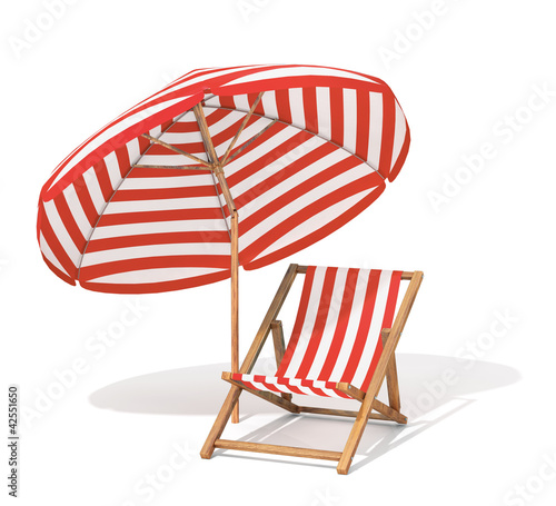 Leinwandbild Motiv Sunbed and sun umbrella