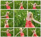 Collage of 20s girl dancing in the meadow poster