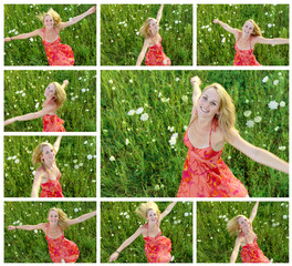 Collage of 20s girl dancing in the meadow