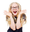 Funny screaming girl in black glasses and shirt