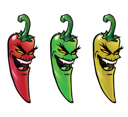 Cartoon illustration of evil looking hot chili peppers