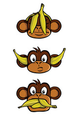 See no evil, Hear no evil, Speak no evil, with bananas.