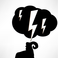vector illustration of the problems, the ram and the cloud of bl