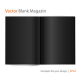 Open black page magazine, vector illustration