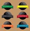 Vector Set: Bowling Balls with Banners Wrapped Around Them