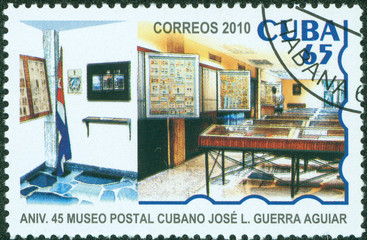 stamp printed in Cuba shows image of the Building interior