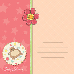 baby girl shower card with teddy