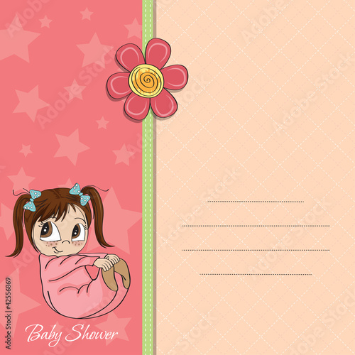 new baby girl announcement card with little girl