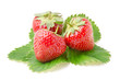 Three Fresh Strawberries with Leaves