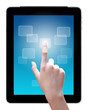 hand is pointing on touch screen ,tablet pc