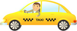 cartoon isolated taxi car with driver thumb up