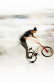abstract stunt bike rider blurred poster