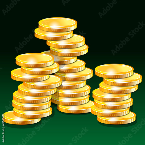 Golden money on a green background