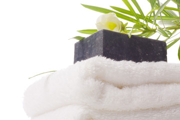 black soap with towel