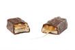 split chocolate bar with caramel
